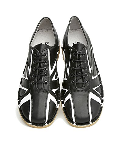Delicious Junction Tommy schwarz & weiß Leder Lace Up Bowling Schuh