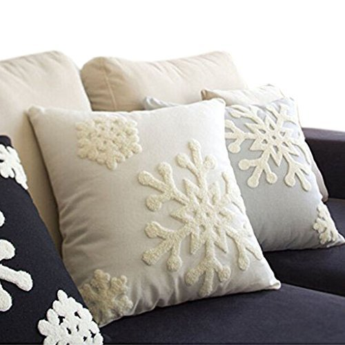 Canvas Cotton Embroidery Throw Covers Christmas Snow Square Throw Pillow Covers White by Beauty House