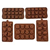 MOSY TECH Set of 5 Silicone Animal Insect Chocolate Candy Making Mold Ice Cube Tray Chocolate Mold for Home Party Use