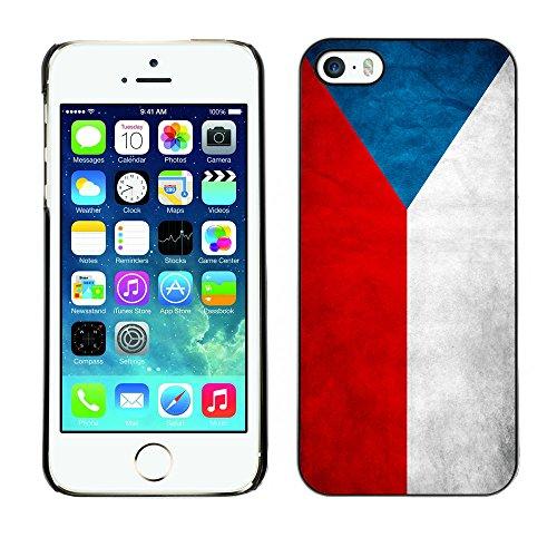 Omega Case PC Polycarbonate Cas Coque Drapeau - Apple iPhone 5 / 5S ( Czech Grunge Flag )