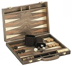 """18"""" Quality Deluxe Wooden Backgammon Game Set - Walnut"""