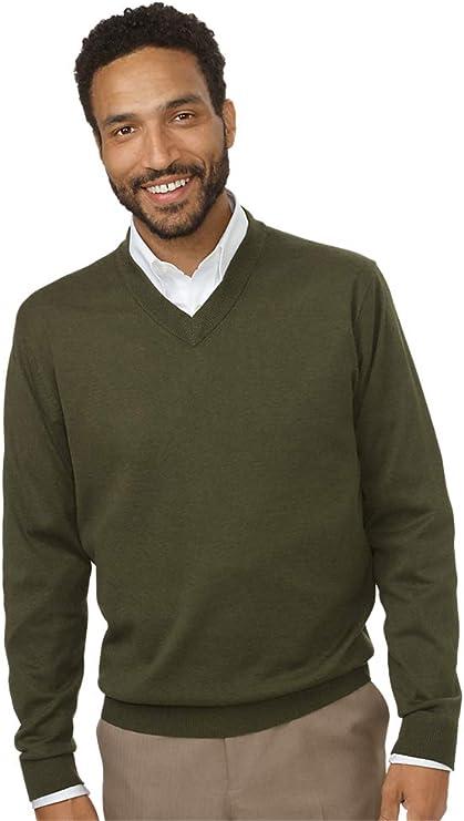 Cotton Cashmere V-Neck Pullover Sweater Paul Fredrick Mens Silk