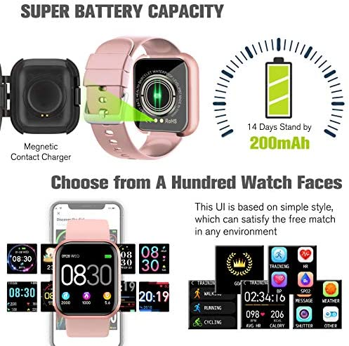 Peakfun Smart Watch,Fitness Watch Activity Tracker with Heart Rate Blood Pressure Monitor IP67 Waterproof Touch Screen Bluetooth Android Phone Smartwatch Sports Watch for Android iOS Phones Women Pink 7