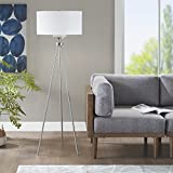 INK+IVY II154-0091 Pacific Floor Lamp-Modern Luxe Accent Furniture Décor Lighting for Living Room Metal Post Silver Tripod Uplight, Grey Round Shades, 64.5' Tall,
