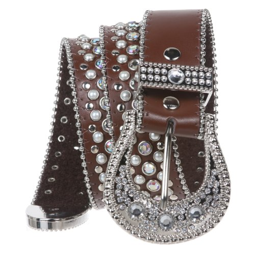[Snap on Western Cowgirl Rhinestone Leather Belt Color: Brown Size: S/M - 34] (Rhinestone Studded Belt)