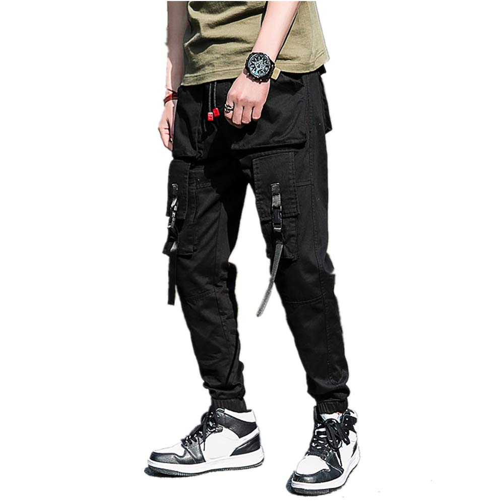 Men's Summer Casual Tooling Pant 6 Pocket Solid Drawstring Classic Closed-Bottom Trousers (M, Black)