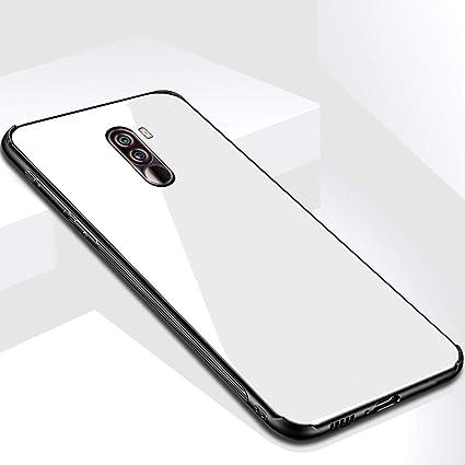 big sale 2de13 751f2 TheGiftKart Luxurious Toughened Glass Back Case with Shockproof TPU Bumper  Back Case Cover for Xiaomi Poco F1 (White)