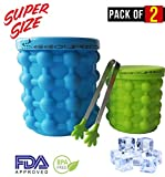 Image of Extra Large + Small Ice Cube Maker Genie with Ice Tongs, Silicone Mold Dual-use Ice Bucket with Lid Space Saving Ice Cube Makers 2 PACK for Almost All Bottles Possible and More Chilling Opportunity