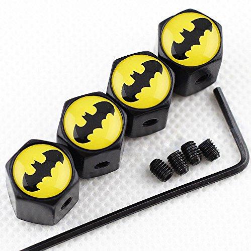 CHAMPLED New (4PC) Batman Yellow Logo Metal Black Anti-Theft Wheel TIRE AIR Valve STEM CAPS DUST Cover ()