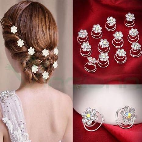 12 forcine spirale fermaglio capelli strass acconciatura sposa matrimonio  nozze 708c94ae7cee