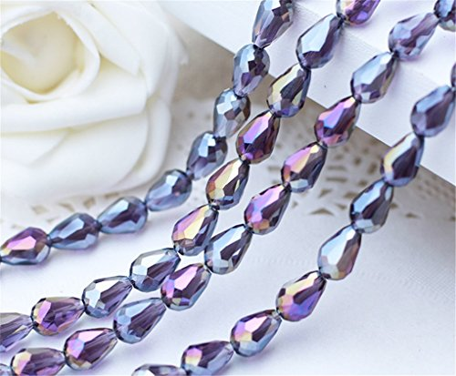 new 100pcs 10x15mm Violet AB Teardrop Shape Tear Drop Glass Faceted Loose Crystal Beads