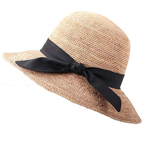 RIONA Women's Summer Hand-Woven Foldable Wide Brim Fisherman 100% Raffia Straw Sun Hat (C002_Beige) ()