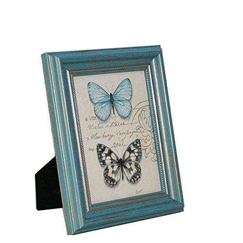 Picture Frames 7x5/13x18 Photo Frames Vintage Photo Display Set for Wall and Tabletop Picture and Photo Holder Stand Retro Frame for Wedding Anniversary 5x7 Inch Turquoise/Blue