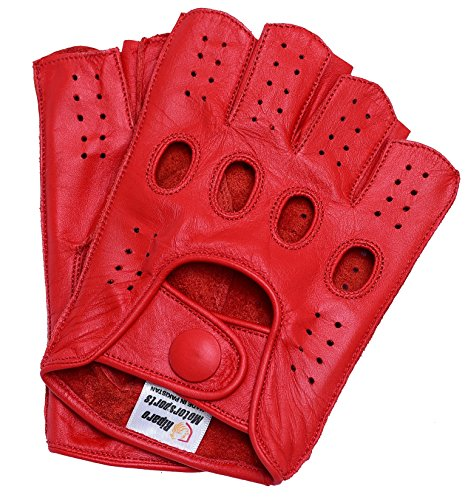 Riparo Women Genuine Leather Reverse Stitched Half-Finger Fingerless Driving Motorcycle Gloves (7.5, Red)