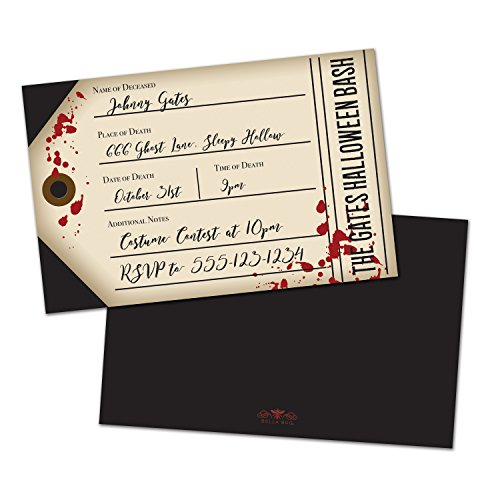 Bloody Tag Personalized Halloween Party Invitations (Set of (Print Off Halloween Invitations)