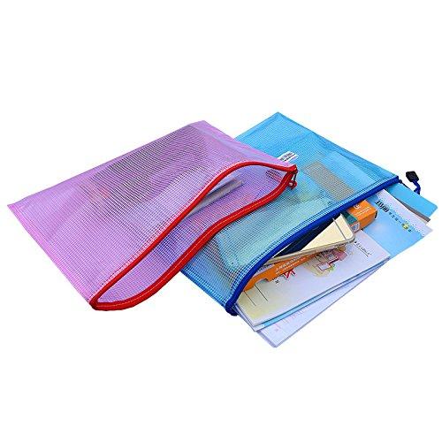 5 Compte fichiers Sacs plastique zip Document Classement fichier Sac de rangement Pochette enveloppe Document File Folder A4 Taille deau//rsistant aux dchirures