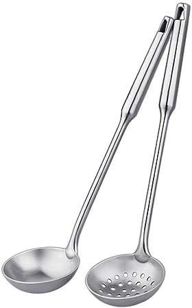 Utensilios de Cocina Sirva la sopa juego del colador, 2 Paquete de acero inoxidable metálico que hiela Cubiertos Utensilios de cocina Sirviendo hueco de mango largo de acero Cuchara ranurada Utensilio: Amazon.es: