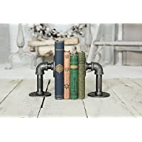 Industrial Pipe Bookends Pipe Shelf Brackets,Rustic Farm house industrial iron pipe decor pipe shelf,bookshelves (Bookshelf C)