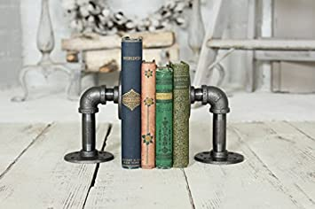 Industrial Pipe Bookends Pipe Shelf Brackets,Rustic Farm House Industrial Iron Pipe Decor Pipe Shelf,Bookshelves Bookshelf C