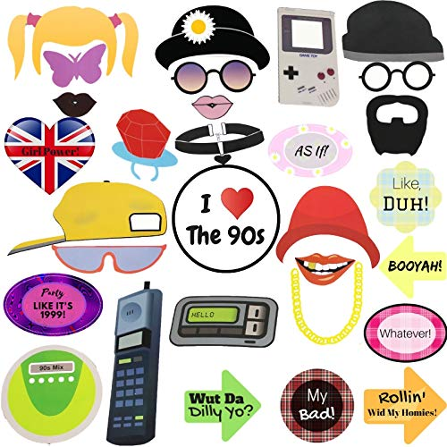 90s Party Photo Booth Props Throwback Decoration 90's Hip Hop Photobooth Favors Supplies Authentic - 30 COUNT Plus wooden sticks stickers]()