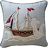 Waverly Kids 16447015X015AQU Ride The Wave 15-Inch by 15-Inch Pirate Ship Decorative Accessory Pillow, Aqua