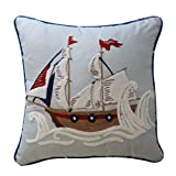 WAVERLY Kids 16447015X015AQU Ride The Wave 15-Inch by 15-Inch Pirate Ship Decorative Accessory Pillow, Aqua