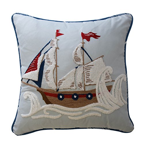 WAVERLY Kids 16447015X015AQU Ride The Wave 15-Inch by 15-Inch Pirate Ship Decorative Accessory Pillow, Aqua by WAVERLY
