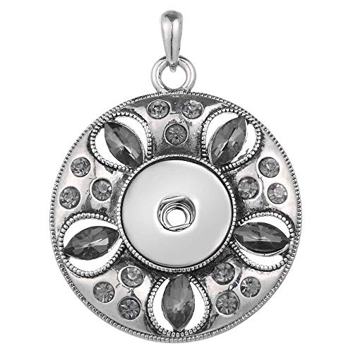 Women Flower Crystal Jewelry Necklace Pendant Fit 18mm Noosa Snap Button N389 (Letters Square Crystal 18mm)