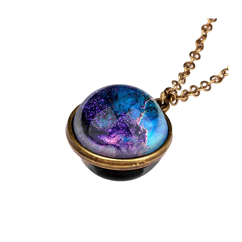 Planet Necklace, Galaxy System Double Sided Glass Dome Glow in The Dark Star Necklace Pendant (B)