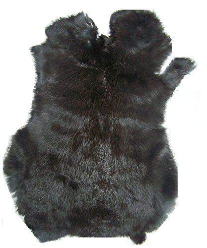 "Natural Tanned Rabbit Fur Hide (10"" by 12"" Rabbit Pelt With Sewing Quality Leather) (Natural Black)"