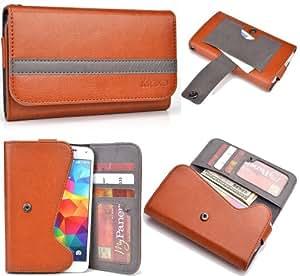 Brown Bronze Grey Mens | Womans Wallet Phone Duo Fits LG Optimus F3 LS720 +NuVur KeyChain ESMLGPN2