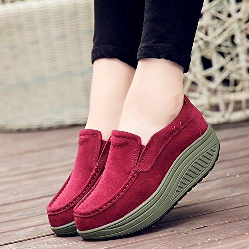 Stq Donne Piattaforma Zeppa Scarpe Comode Slip On Mocassini Scamosciati Mocassini In Pelle Scamosciata Sneakers 2122 Vino Rosso