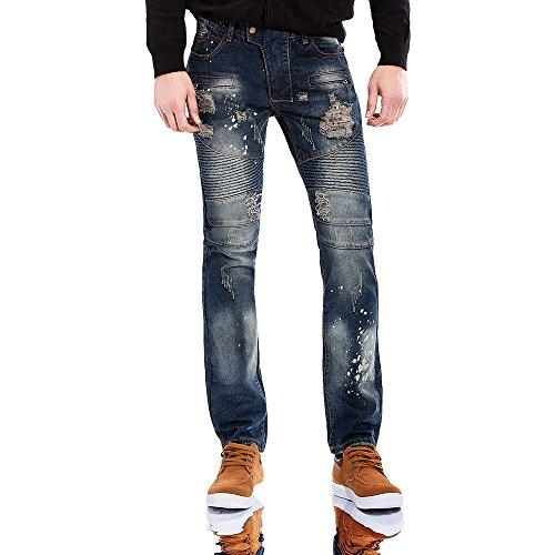 YIMANIE Men's Ripped Slim Straight Fit Biker Jeans With Zipper - Street Nz High
