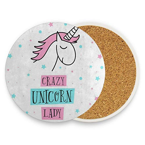(LoveBea Cartoon Crazy Unicorn Star Coasters, Prevent Furniture from Dirty and Scratched, Round Cork Coasters Set Suitable for Kinds of Mugs and Cups, Living Room Decorations Gift Set of 4)