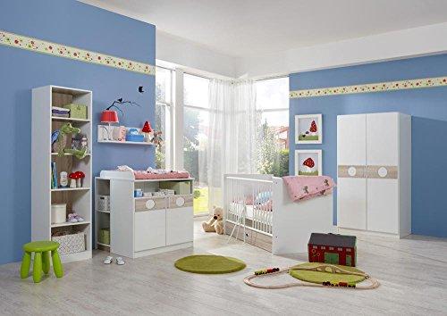 3-tlg. Babyzimmer in Weiß/Eiche-sägerau-Nachbildung, Schrank B: 90 cm, Babybett inkl. Lattenrost 70 x 140 cm, Wickelkommode B: 90 cm