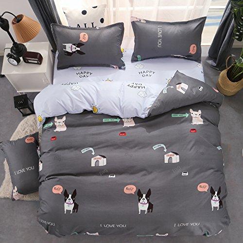 Bed Set Bedding Children Duvet Cover Set Flat Bed Sheet pillowcased No Comforter Queen Set Batman Mask Ruff Dog Forest Deer Bear Designs Kids Sheet Sets (Ruff Dog, Grey, Queen, 79