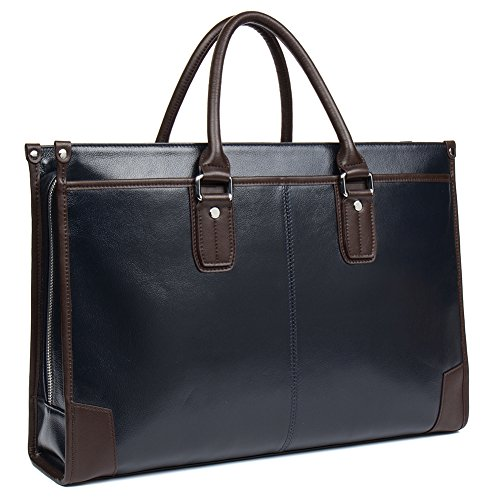 MANTOBRUCE Men Women Briefcase Cowhide Business Handbag Travel Work 15'' Laptop Bags by MANTOBRUCE