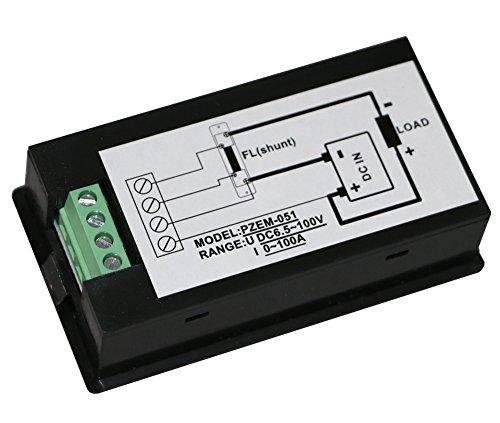 Yeeco Digital Multimeter DC6.5-100V 100A Voltage Amperage Power Energy Meter Voltmeter Ammeter DC Voltage Current Volt Amp Meter Tester Gauge Power Monitor Measuring LCD Display with 100A//75mV Shunt