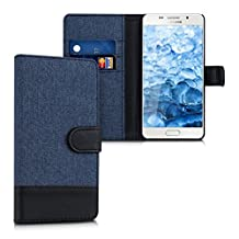 kwmobile Wallet case canvas cover for Samsung Galaxy A5 (2015) - Flip case with card slot and stand in dark blue black