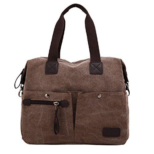 Männer Vintage-Leinwand Messenger Aktentasche Schulter Tote Schule Reisen Tasche,Brown-38cm*15cm*30cm