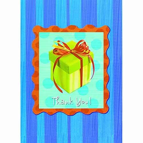 Blue Stripe Folded Note (Amscan Party Gift Postage Stamp On Blue Stripes Bi-Fold Thank You Notes Set Party Supply (Pack of 16), Multicolor, 5 1/2
