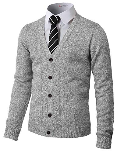 H2H Mens Soft V-Neck Button Down with Twisted Patterned Cardigans Gray US XL/Asia 2XL - Argyle Mens Down Button Vest