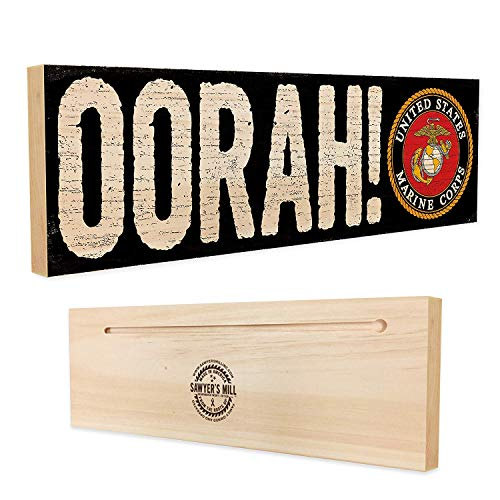 (Oorah! Officially Licensed by The United States Marine Corps - Handmade Wood Sign - 4 in x 12 in x 3/4 in Thick - Solid Hardwood)