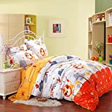 SAYM Home Bedding Sets Elegant Rural Style Print Kids Set For Lovely Teen Girls 100% Polyester Fiber School Duvet Cover,Flat Sheet,Shams Set 4Pieces Lion Twin