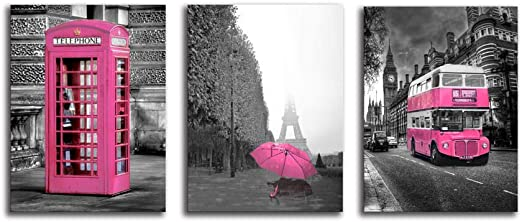 Girls Pink Paris Theme Room Decor Wall Art Canvas Black and White Art  Eiffel Tower Pictures Decorations London Big Ben Tower Eiffel Tower  Painting ...