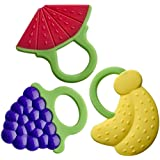 Baby Teether Toys - Best for Infant & Toddler Teething Pain Relief symptoms - Fun set of 3 Teethers with rings - Food Grade Silicone, BPA, Latex and Phthalate Free- FDA