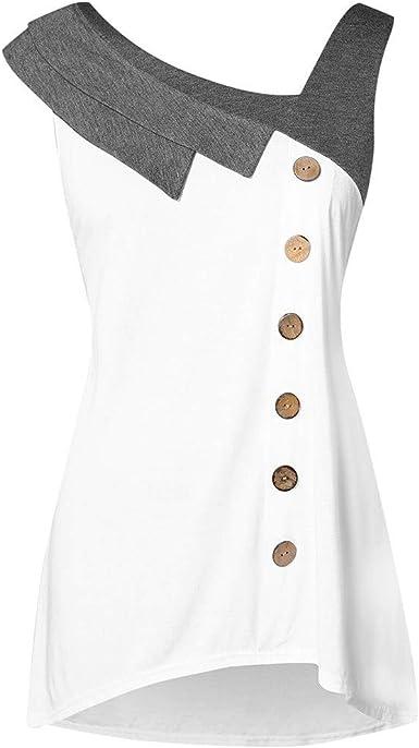 Las Rebajas! Camisas De Vestir Asimétricas para Mujer, con Cuello Abotonado Sin Mangas, Sin Mangas De Color Combina con El Banquete De Oficina Camisa Blanca: Amazon.es: Ropa y accesorios