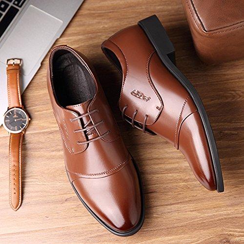 nuevos Zapatos de Estrecha Punta Goma los Cuero Brown de de de Vestir de británicos Zapatos con Zapatos Negocios de Suela Koyi Microfibra Hombres wUcOY7Eq