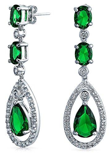 Simulated Emerald CZ Oval Teardrop Dangle Chandelier Earrings 2in Rhodium Plated Brass