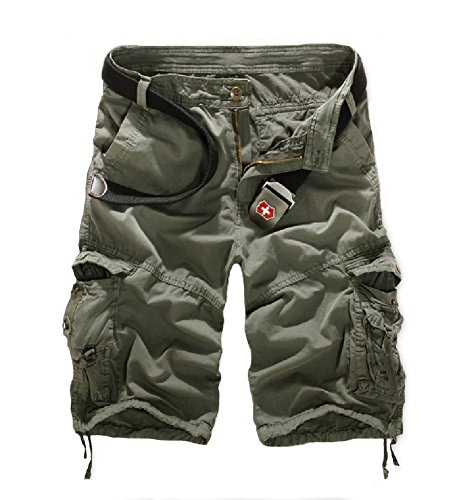 Belted Tweed Belt (Mo Good Fashion Baggy Hiking Camouflage straight leg Shorts For Men (36,)